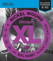D'ADDARIO EXL120BT струны для электрогитары, Super Light, никель, 9-40