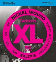 D'ADDARIO EXL170S струны для бас-гитары, никель, Soft, 45-100, Short Scale