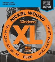 D'ADDARIO EJ20 струны для эл.гит. Jazz Extra Light 10-49