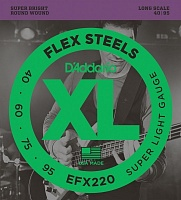 D'ADDARIO EFX220 стр. бас FlexSteels Bass, Super Light, 40-95, Long Scale