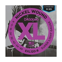 D'ADDARIO EXL120-8, Super Light, 9-65 Струны для 8-ми струнной электрогитары