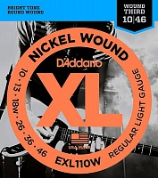 D'ADDARIO EXL110W струны для электрогитары, Regular Light Wound 3-я в обмотке, никель, 10-46