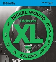 D'ADDARIO EXL220S струны для бас-гитары, никель, Supersoft, 40-95, Short Scale